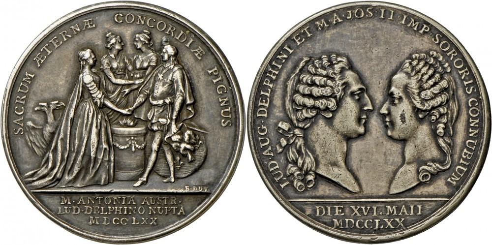 Medaglia 1770 per matrimonio del futuro Luigi XVI con Maria Antonietta d'Austria (Ag, mm 41,2, g 31,76)
