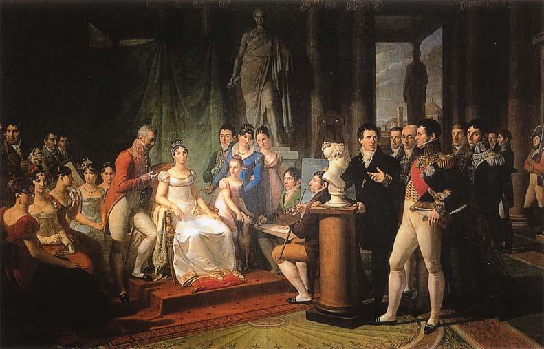 Elisa Bonaparte tra gli artisti della sua corte lucchese in un dipinto di Pietro Benvenuti (1813)