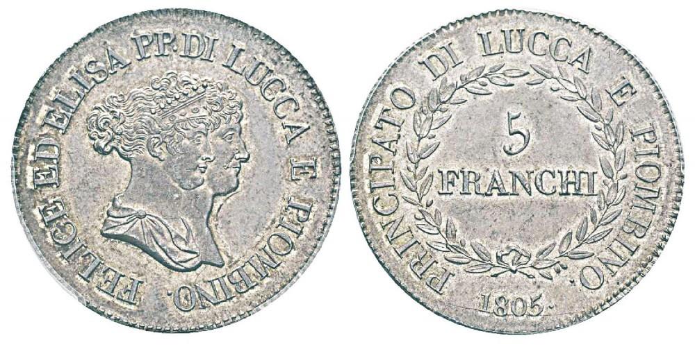 Scudo lucchese in argento (mm 37,5 gr 25) con i ritratti di Elisa Bonaparte e Felice Baciocchi (1805-1814)