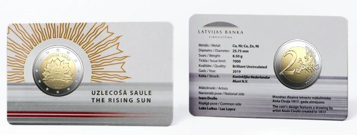 La coincard lettone con i 2 euro dedicati all'emblema del sole nascente divenuto poi parte dello stemma nazionale