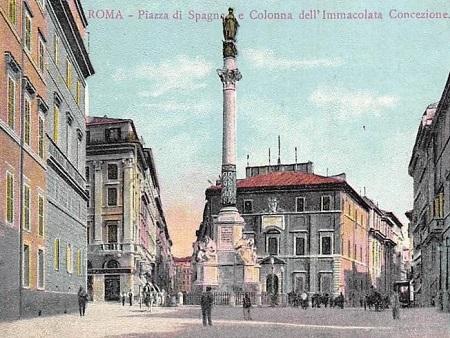Cartolina d'epoca con Piazza di Spagna a Roma e il monumento all'Immacolata