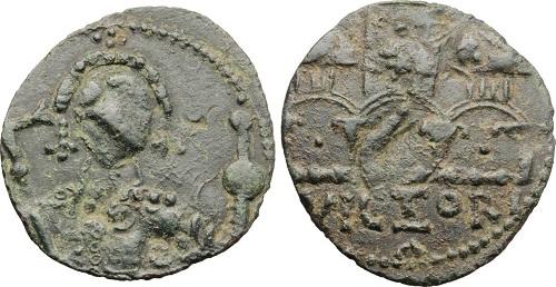 Follaro emesso da Roberto il Guiscardo (1077-1085) con la veduta di Salerno al rovescio (riferimento: Travaini, MIN, p. 254, n. 32). Ex Artemide XLIX, lotto n. 681