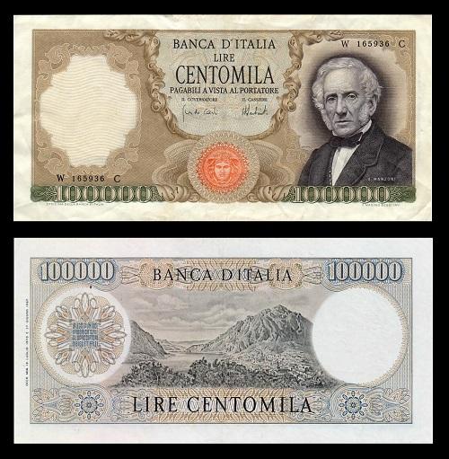 Le 100.000 lire Manzoni, una delle più belle banconote delle Repubblica Italiana