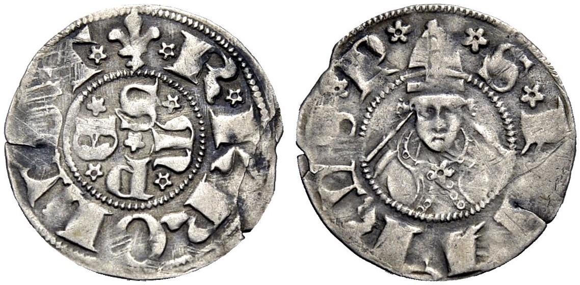 Bolognino di Carlo III di Durazzo per Sulmona (1382-1385) al tipo pontificio (Ag, mm 18 ca. per g 0,95 ca.)