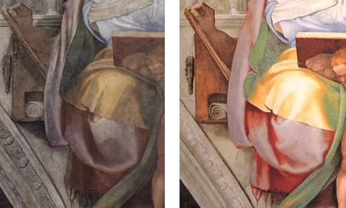 Dettaglio di un affresco della Sistina prima e dopo il restauro e l'eliminazione del nerofumo