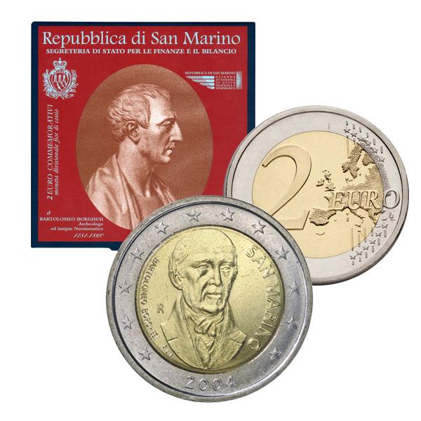 La 2 euro di San Marino per Bartolomeo Borghesi è reperibile solo in blister o nella divisionale 2004