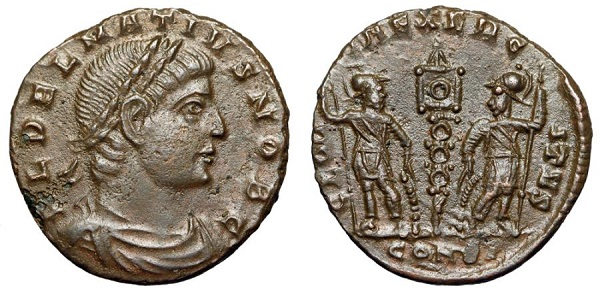 Follis di Dalmazio, zecca di Costantinopoli, 336-337 d.C. RIC VII, 141