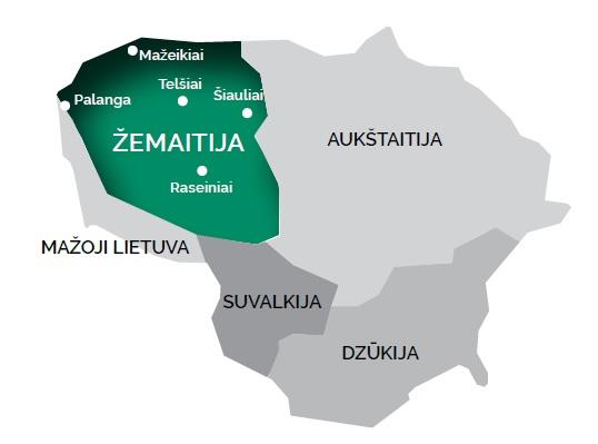 In verde, la posizione della Samogizia nella carta geografica semplificata della Liturania