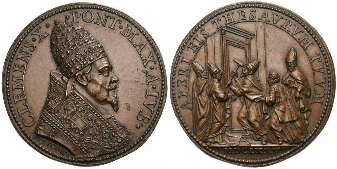 Medaglia del Lucenti per Clemente X realizzata per l'Anno Santo 1675 (Ae, mm 40 per g 22,6)