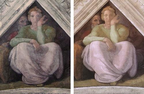 """Gli occhi aperti della figura, dipinti successivamente """"a secco"""" sono stati rimossi riportano in luce l'originaria pittura """"a buon fresco"""""""
