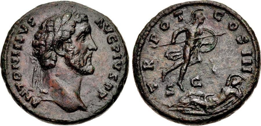 Asse di Antonino Pio, zecca di Roma, 140 d.C., al R/ Marte sorprende Rhea Silvia nel sonno, RIC III 694a