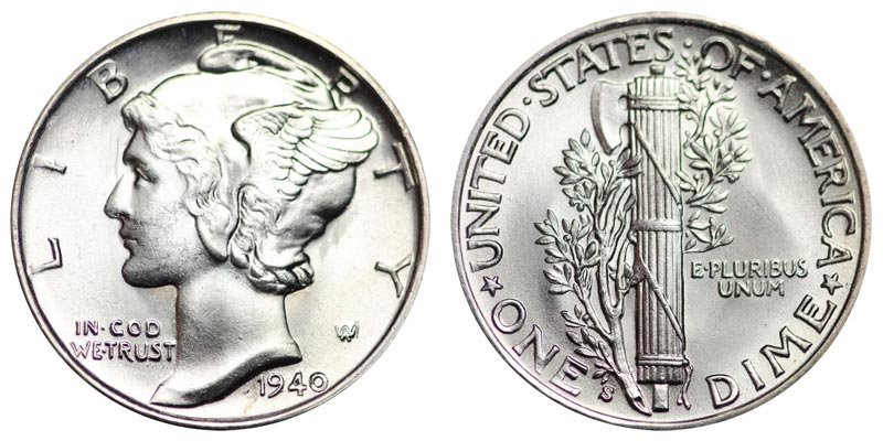 Il Mercury dime (1916-1945, Ag 900/.., g 3,11 per mm 17,91, bordo rigato)