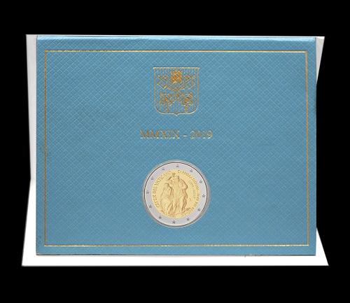 Il folder che ospita i 2 euro per la Cappella Sistina in fior di conio
