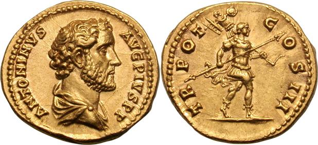 Aureo di Antonino Pio, zecca di Roma, 140-143, al R/ Romolo in abiti militari verso destra con lancia e trofeo, RIC III 90