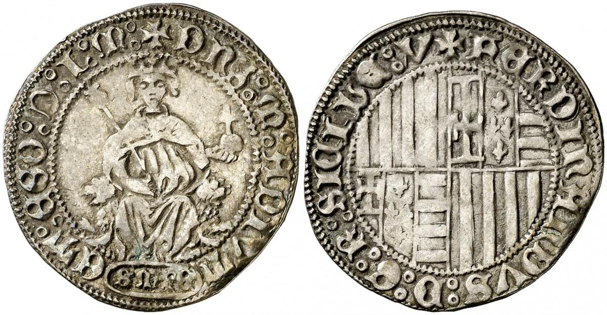 Carlino di Ferdinando I d'Aragona per Sulmona (1458-1494) al tipo classico (Ag, mm 28 ca. per g 3,65 ca.)