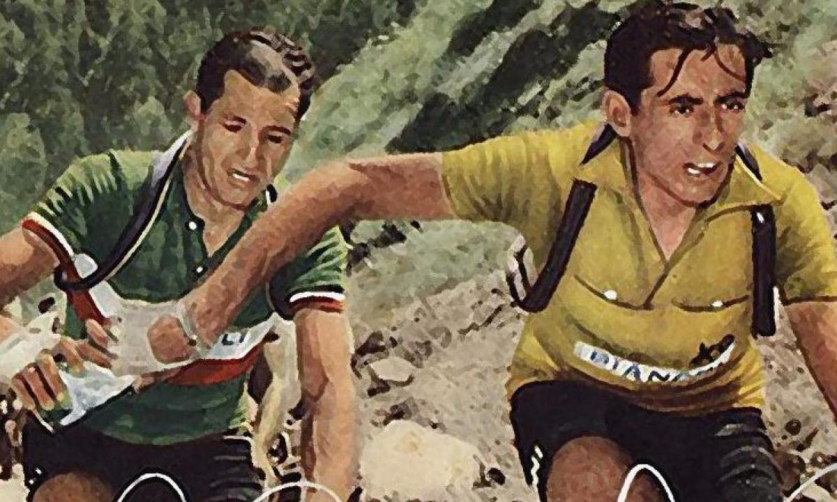"""Rielaborazione digitale della celebre foto del """"passaggio di borraccia"""" tra Coppi e Bartali, leali avversari per una vita intera sulle strande del ciclismo"""