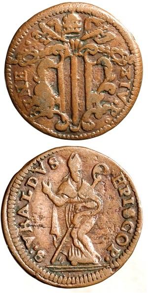 Quattrino a nome di Benedetto XIV (Cu, mm 21 per g 3,62) senza data (1740-1758) con sant'Ubaldo a figura intera al R/