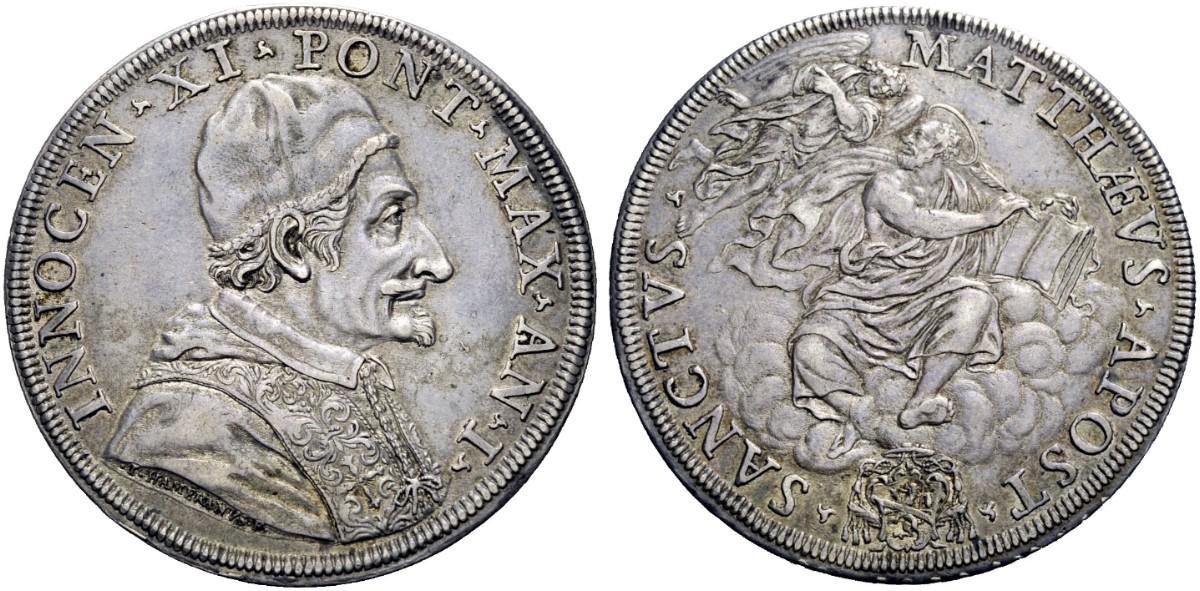 """La versione della piastra """"riveduta e corretta"""" dall'Hamerani, con i tratti del papa e del santo meno marcati"""