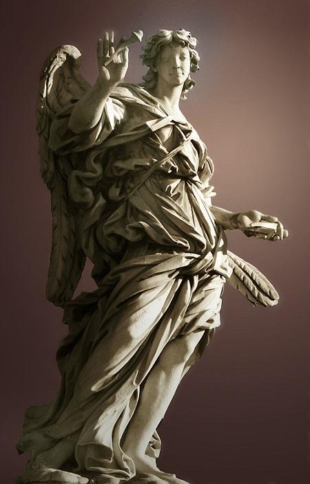 """""""L'angelo con i chiodi della Croce"""", la più nota scultura di Girolamo Lucenti realizzata per il ponte di Castel Sant'Angelo"""