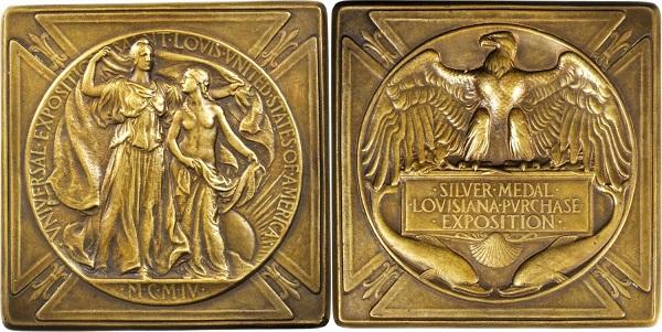 """Medaglia premio """"Classe argento"""" di mm 67 di lato, coniata in bronzo su modelli di Weinman nel 1904 e commissionata dall'Esposizione commerciale della Louisiana"""