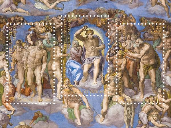 E' dello scorso maggio l'emissione del trittico di francobolli in foglietto dedicati dalle Poste Vaticane al 25° del restauro della Cappella Sistina