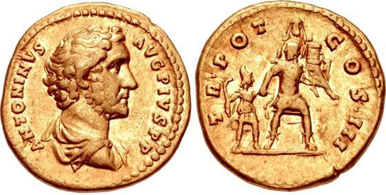 Aureo di Antonino Pio, zecca di Roma, 140-143, al R/ Enea fugge da Troia col padre Anchise sulle spalle e il figlio Ascanio per mano; RIC III 91