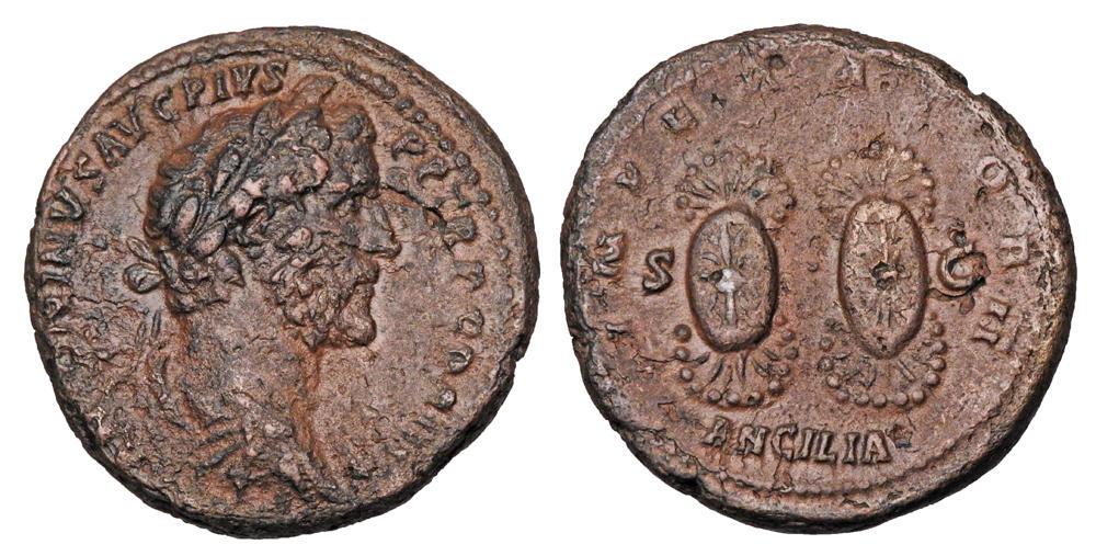 """Asse di Antonino Pio, zecca di Roma, 143-144 d.C., al R/ coppia di """"ancilia"""", RIC III 736a"""