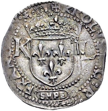 Dritto del magnifico carlino per Sulmona di Carlo VIII (Ag, mm 27 ca. per g 3,60 ca.)