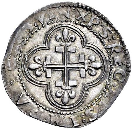 Dritto della medesima moneta di Carlo VIII (Ag, mm 27 ca. per g 3,60 ca.)