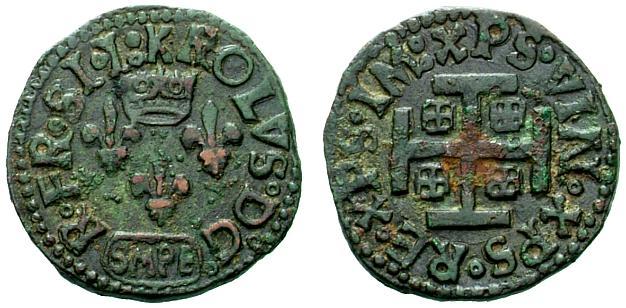 Cavallo a nome di Carlo VIII per Sulmona coniato nel 1495 (Cu, mm 18 ca. per g 2,00 ca.)