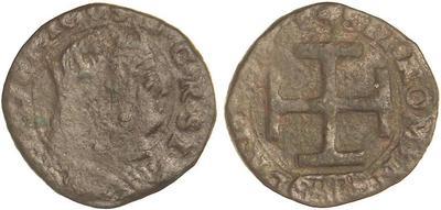 Cavallo a nome di Ferdinando III d'Aragona (1496-1505) per Sulmona (Cu, mm 19 ca. per g 1,20 ca.)