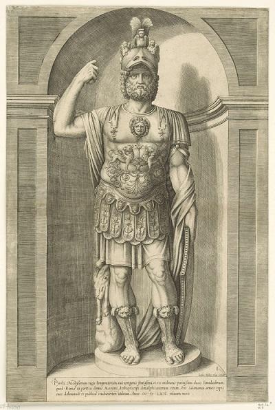 Pirro, in una marziale versione barbuta e corazzata, da una raccolta di incisioni settecentesche dedicate a personaggi storici