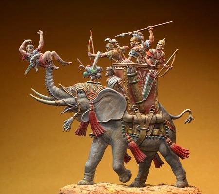 """Ricostruzione di uno degli elefanti di Pirro con il suo """"equipaggio"""" di lancieri ed arcieri e le formidabili bardature che lo rendevano simile ad un carrarmato del mondo antico"""