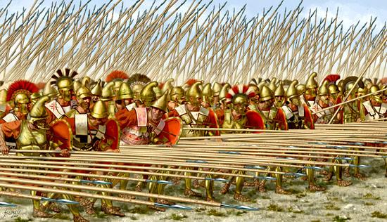 La falange macedone, modello di formazione di sfondamento adottato dalle armate di Pirro durante le sue campagne