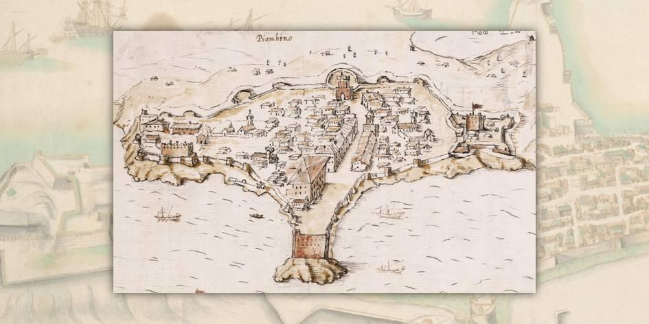 Una bella veduta della città toscana di Piombino e del suo porto risalente al XVII secolo