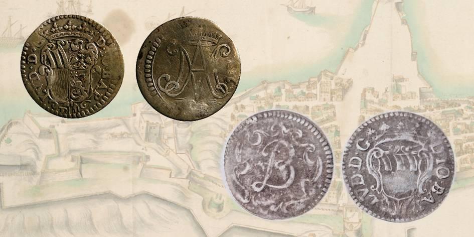 Figg. 1a e 1b | Giovan Battista Ludovisi: mezzi giuli in argento con al rovescio i monogrammi MA e JBL