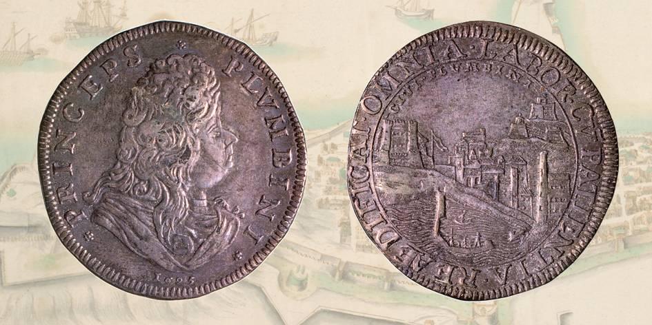 Fig. 2 | Giovan Battista Ludovisi: lo splendido tollero in argento con al rovescio la veduta di Piombino
