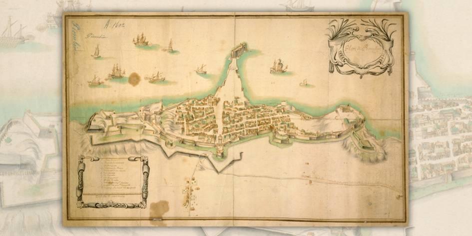 Un'altra dettagliata mappa acquerellata di Piombino che evidenzia il porto e le fortifgicaioni litoranee