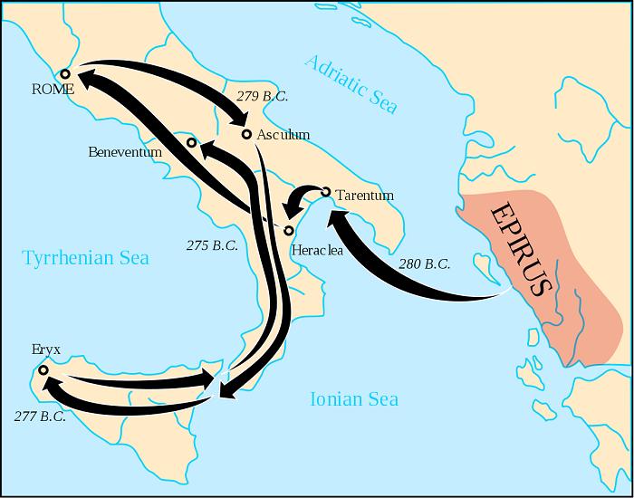 Cartina riassuntiva delle spedizioni militari pirriche in Italia meridionale e centrale fra il 280 e il 275 a.C.