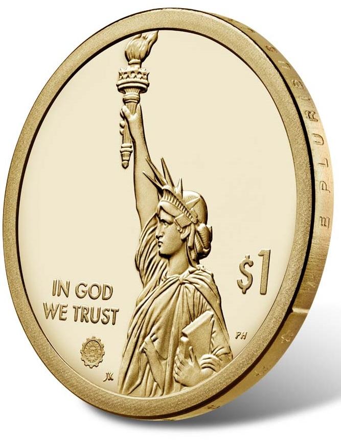 Il mezzo busto della Statua della Libertà costituisce il dritto comune ai dollari per gli innovatori americani