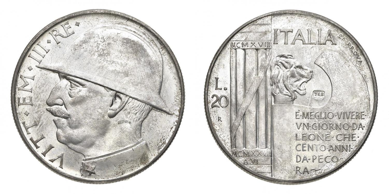 La seconda prova delle 20 lire 1928 con punzone 718 e legenda che inizia per E' al rovescio