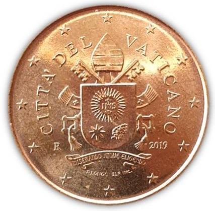 I 50 centesimi di euro vaticani 2019, unica moneta della divisionale ad avere effettiva circolazione