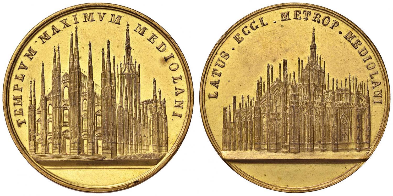 Medaglia ottocentesca in bronzo dorato (mm 46) dedicata a due vedute del Duomo di Milano