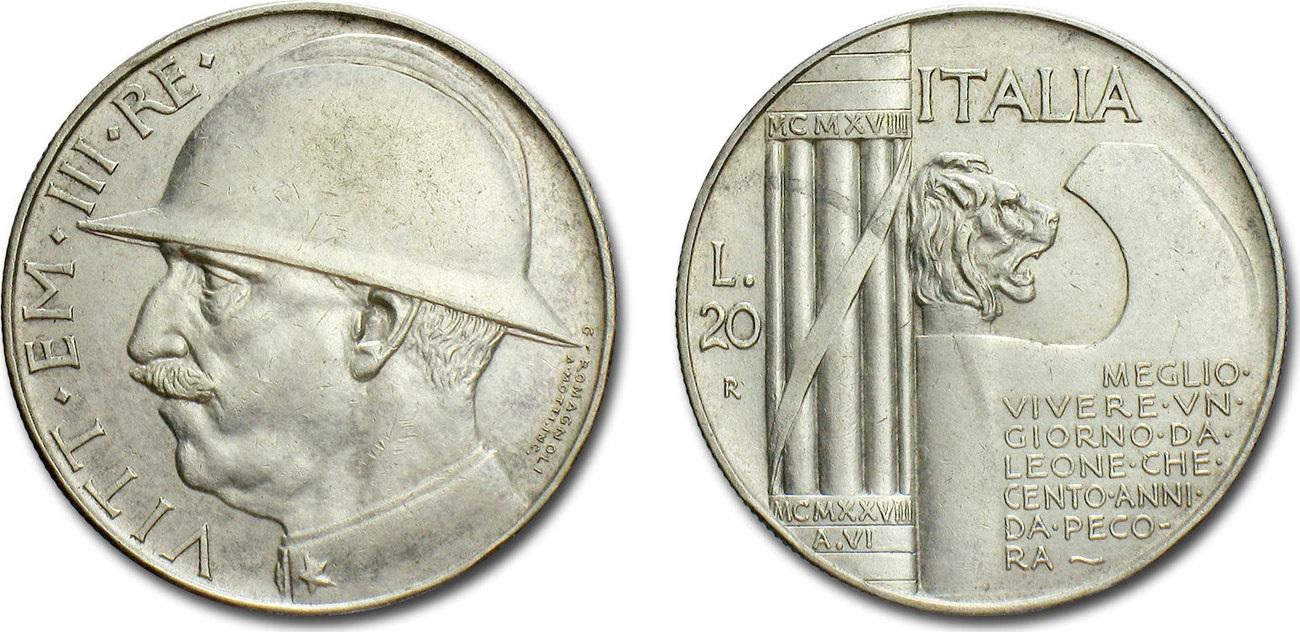Un esemplare delle 20 lire in argento del 1928 celebrative dei dieci anni dalla vittoria italiana nella Grande Guerra