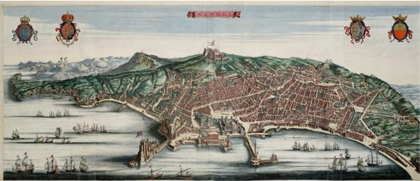 Incisone acquerellata raffigurante il golfo e la città di Napoli tra fine '600 e inizio '700