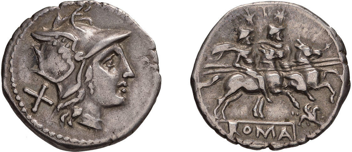Un bel denario repubblicano di Roma con testa elmata al D/ e i dioscuri al R/