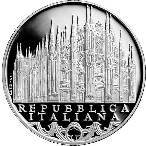 Una composizione nitida e perfetta per il dritto dei nuovi 10 euro d'argento serie Italia delle Arti