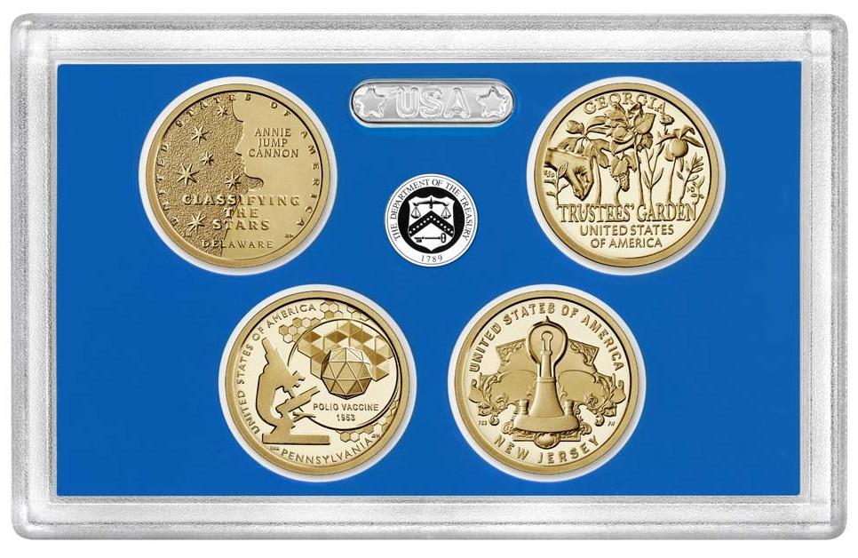 Il blister con le quattro monete 2019 dedicate a Delaware, Pennsylvania, Georgia e New Jersey