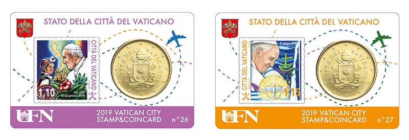 Le prime due card della serie 2019 dedicate ai viaggi apostolici di papa Francesco nel mondo