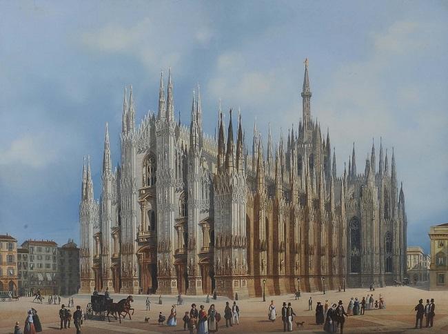 Una pregevole incisione acquerellata risalente al XIX secolo e che ci mostra il Duomo in una animata scena (si notino, a sinistra, i palazzetti poi abbattuti per far spazio alla Galleria Vittorio Emanuele II)